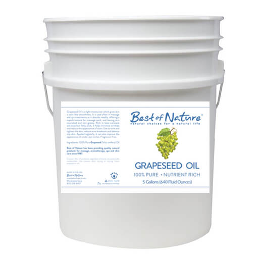 Best of Nature 100% Pure Grapeseed Massage Body & Carrier Oil - 5 Gallon Pail