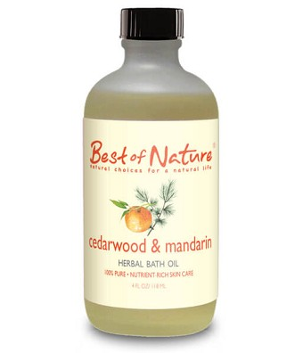 Best of Nature 100% Pure Cedarwood & Mandarin Herbal Bath Oil - 4oz